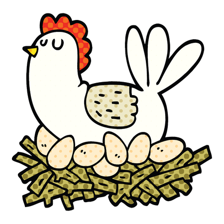 comic book style cartoon chicken on nest of eggs