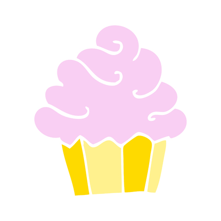 flat color illustration cartoon cupcake