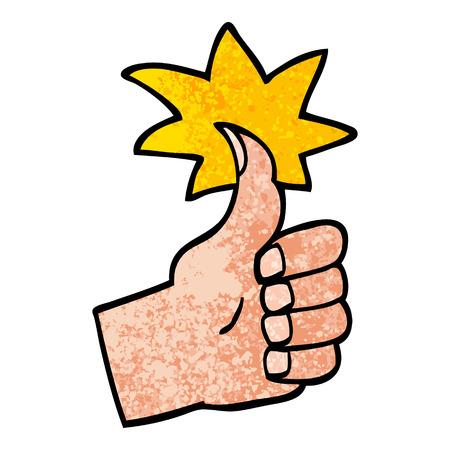 grunge textured illustration cartoon thumbs up symbol