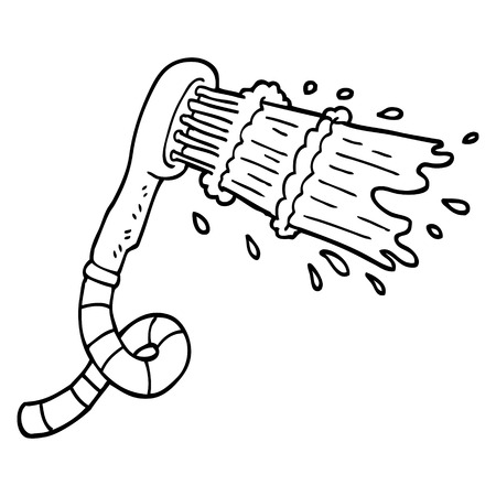 black and white cartoon shower head