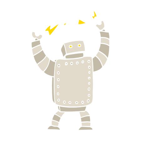 flat color illustration cartoon giant robot Ilustração