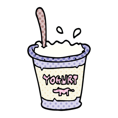 comic book style cartoon yogurt
