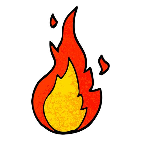 grunge textured illustration cartoon flame symbol