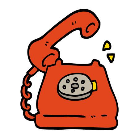 hand drawn doodle style cartoon telephone ringing Illustration