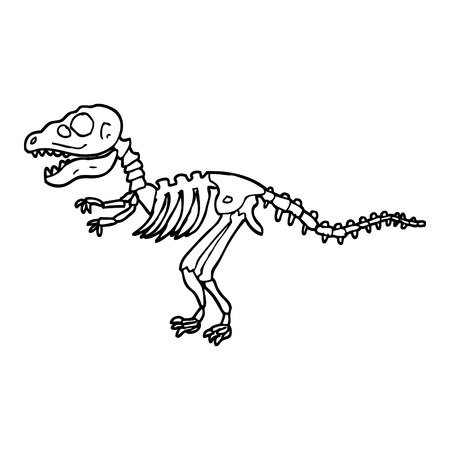 zwart-wit cartoon dinosaurusbotten