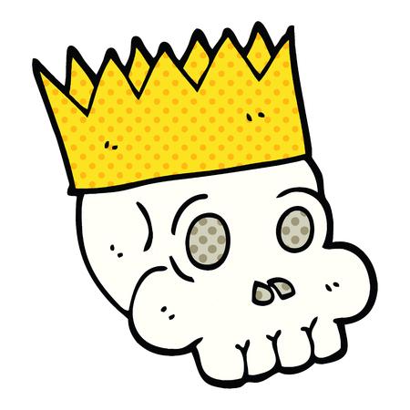 comic book style cartoon skull wearing crown