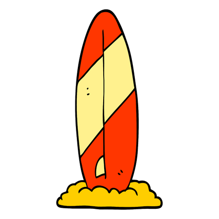 hand drawn doodle style cartoon surf board