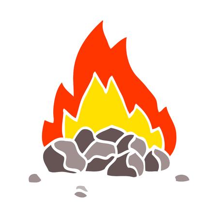 flat color illustration cartoon burning coals Illustration