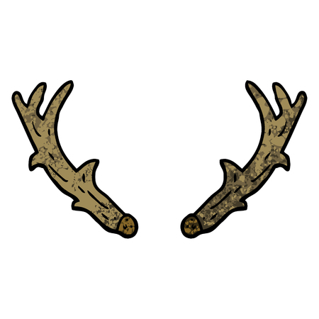 grunge textured illustration cartoon antlers