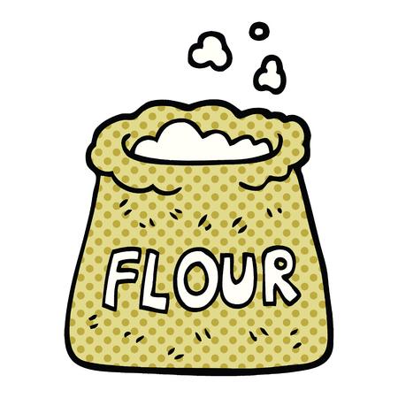 Cartoon-Tasche im Comic-Stil mit Mehl Vektorgrafik