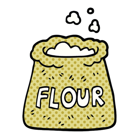 comic book style cartoon bag of flour 矢量图像