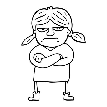 black and white cartoon grumpy girl Ilustração