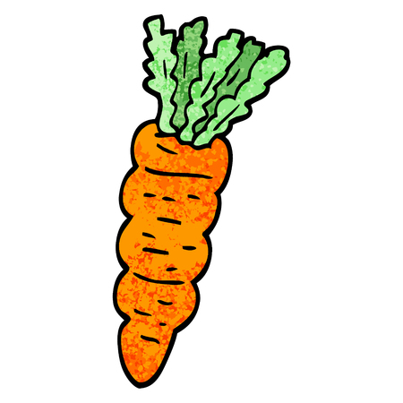 grunge textured illustration cartoon carrot Stock Illustratie