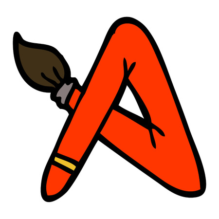 hand drawn doodle style cartoon paint brush bent into letter A  イラスト・ベクター素材