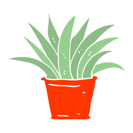 flat color illustration cartoon house plant Ilustracja