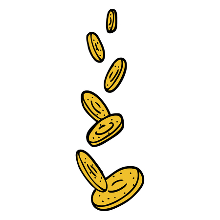 hand drawn doodle style cartoon falling coins 向量圖像