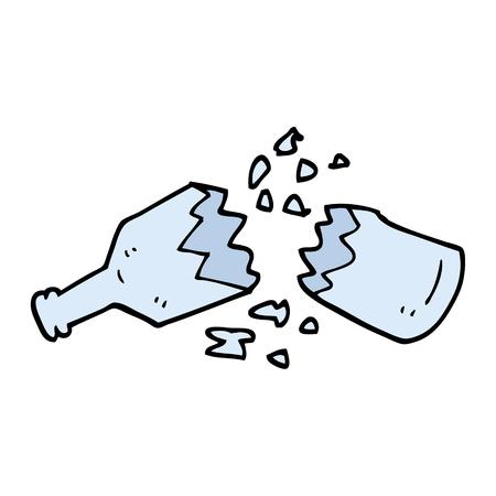 hand drawn doodle style cartoon  smashed glass bottle
