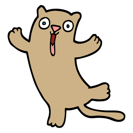 hand drawn doodle style cartoon happy cat