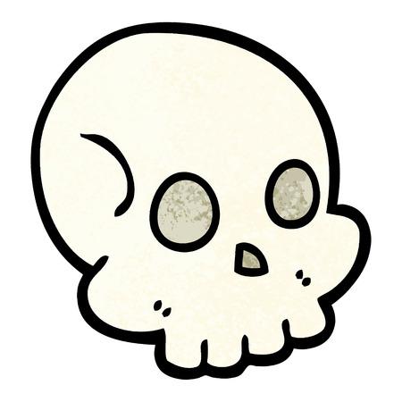 hand drawn doodle style cartoon skull