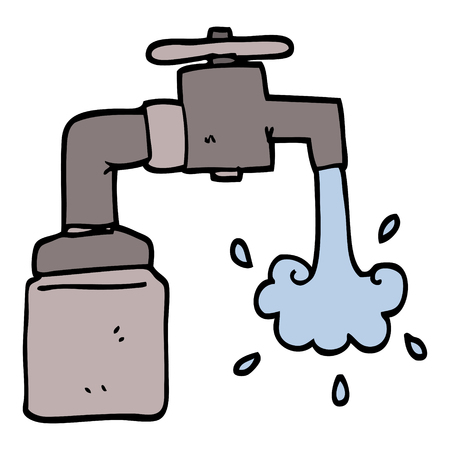 Hand gezeichneter Gekritzelartkarikatur laufender Wasserhahn Vektorgrafik