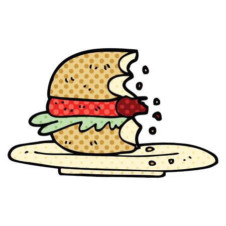 caricatura, estilo cómic, medio, comido, hamburguesa Ilustración de vector
