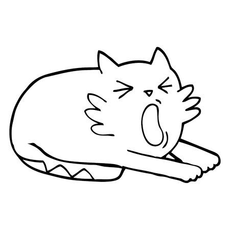 black and white cartoon yawning cat