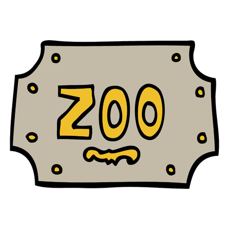hand drawn doodle style cartoon zoo sign