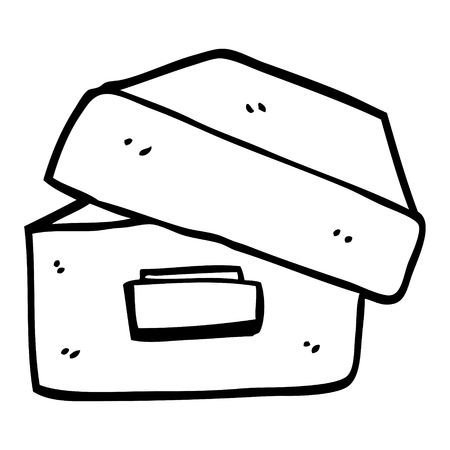 black and white cartoon old filing box