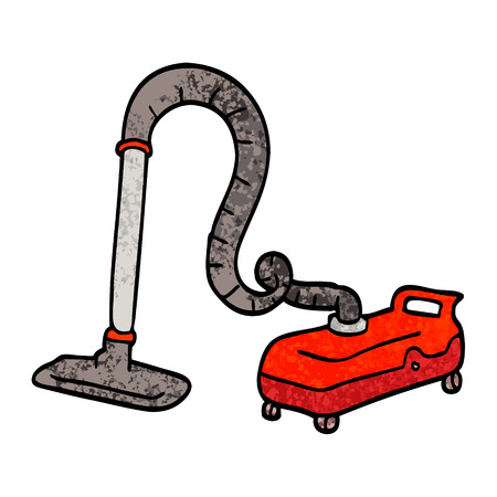 grunge textured illustration cartoon vacuum hoover Reklamní fotografie - 110423686