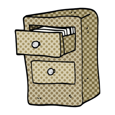 comic book style cartoon drawers of files Illustration