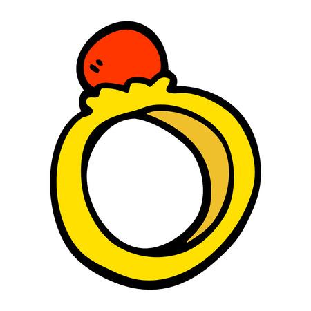 ręcznie rysowane doodle styl kreskówka pierścionek zaręczynowy Ilustracje wektorowe
