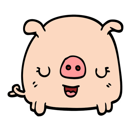 hand drawn doodle style cartoon pig