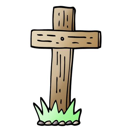 vector gradient illustration cartoon wooden cross Illustration