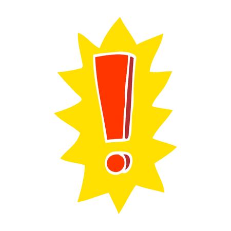 point d'exclamation de dessin animé illustration couleur plat Vecteurs