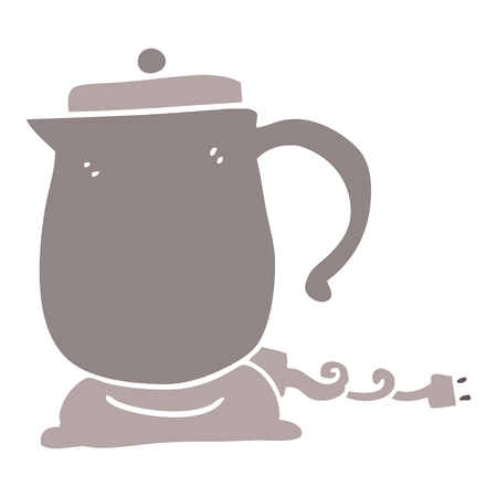 flat color illustration cartoon kettle 일러스트