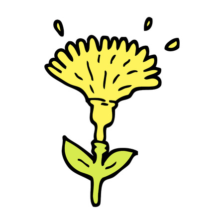 hand drawn doodle style cartoon dandelion opening