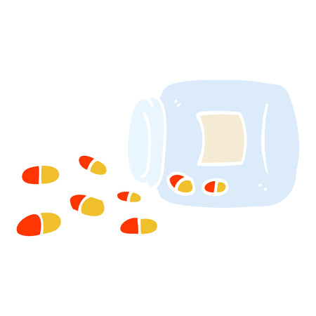 flat color illustration cartoon jar of pills Illusztráció
