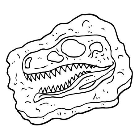 zwart-wit cartoon oud fossiel