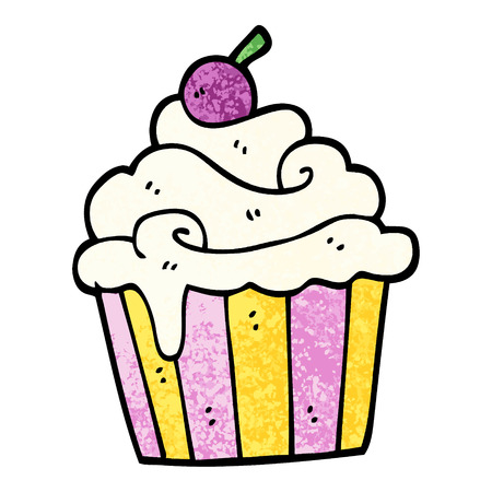 grunge textured illustration cartoon cup cake  イラスト・ベクター素材