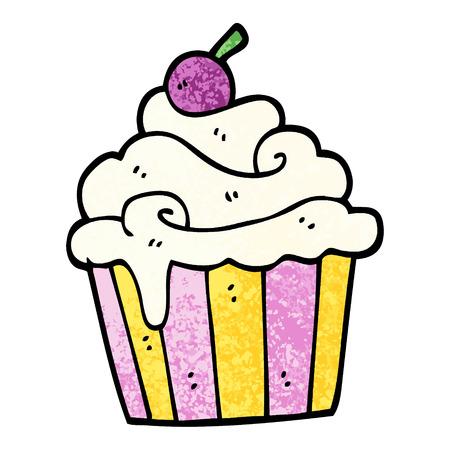 pastel de taza de dibujos animados de ilustración con textura grunge Ilustración de vector