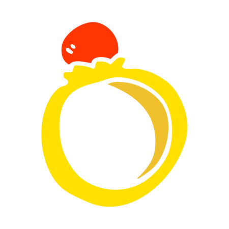 flat color illustration cartoon engagement ring
