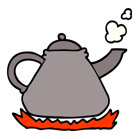 bollitore di cartone animato in stile doodle disegnato a mano sul fornello