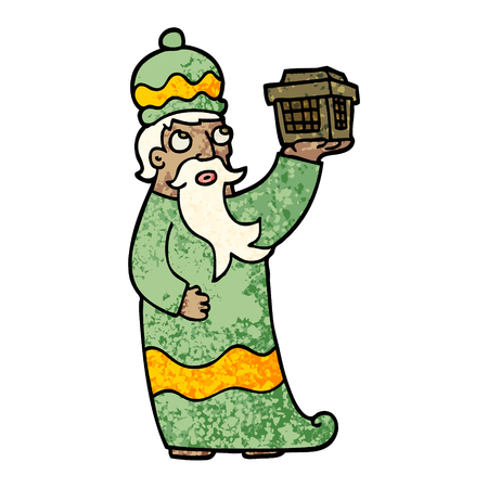 one of the three wise men grunge textured illustration cartoon