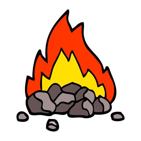 Hand gezeichnete Gekritzelartkarikatur brennende Kohlen