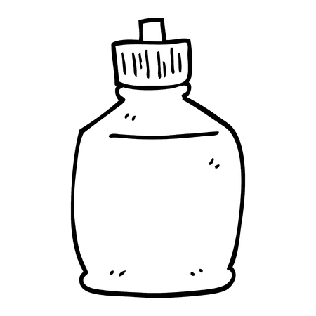 black and white cartoon squirt bottle Illustration