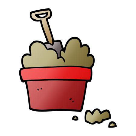 vector gradient illustration cartoon gardening pot 스톡 콘텐츠 - 110423735