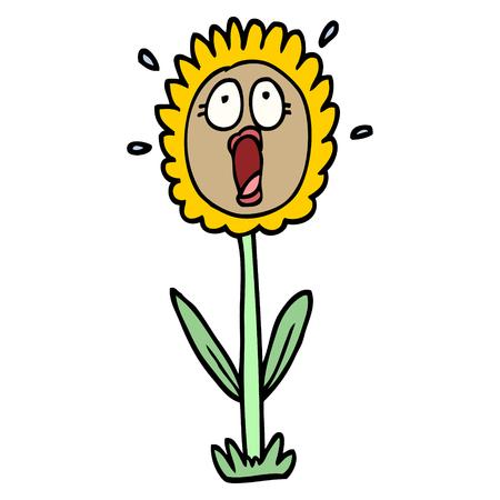 hand drawn doodle style cartoon shocked sunflower Vector Illustration