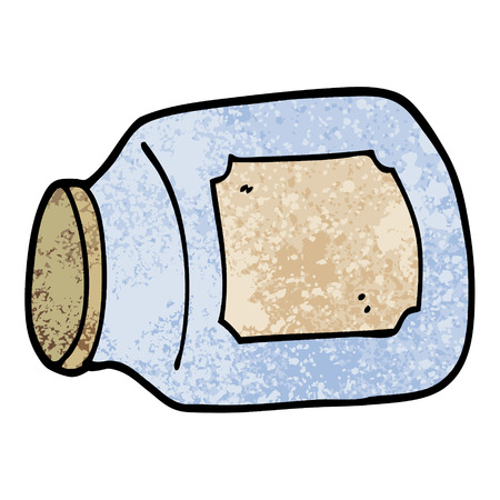 grunge textured illustration cartoon glass jar on side