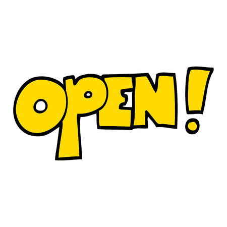 hand drawn doodle style cartoon open sign