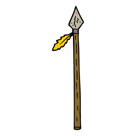 hand drawn doodle style cartoon long spear